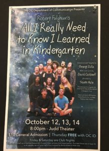 "This year's fall play, ""All I Really Need to Know I Learned in Kindergarten"" took place in Judd Theater on Oct. 12-14. Submitted photo."