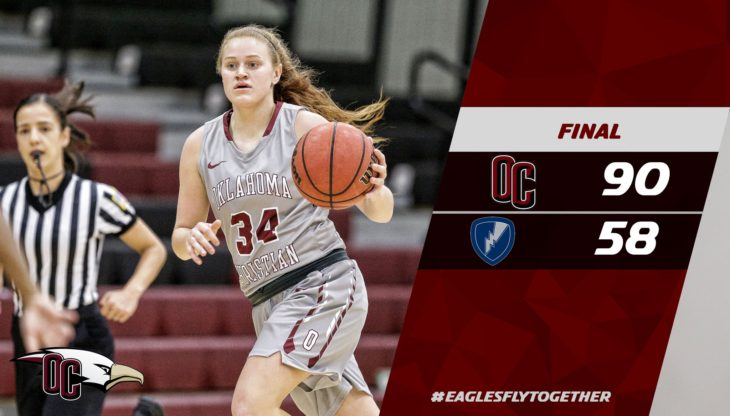 Lady Eagles win first exhibition game against Manhattan Christian. Pictured is senior Audrey Hayers. Photo from OCEagles twitter.