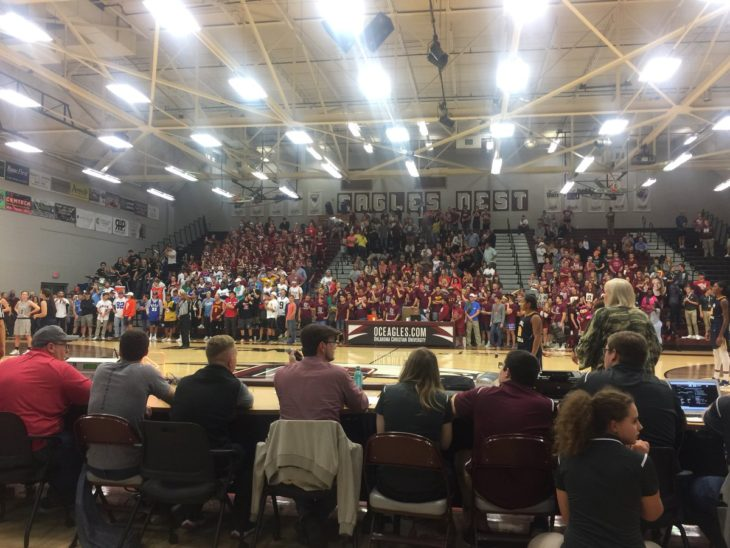 The crowd at the Eagles and Lady Eagles home opener was massive. Online photo.