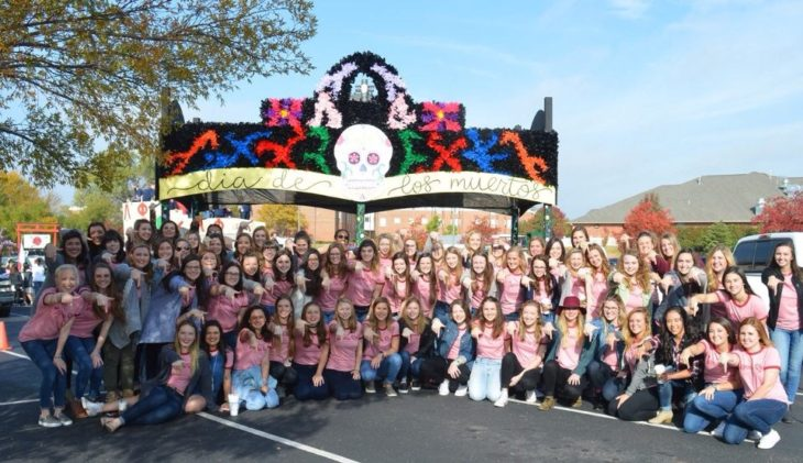 The women of Gamma Rho won this year's Oklahoma Christian Homecoming club competition. Photo by Carson Brown.