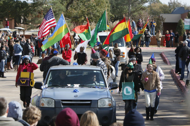 International students participating in the 2017 Homecoming Parade. Photo from newsok.com.